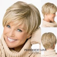 salt and pepper pixie cut human hair wigs natural straight blonde wig with bangs short pixie cut hairstyle