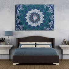Home Decor Tapestry 210x145cm Blue Vintage Indian Tapestry Bedspread Blanket Wall