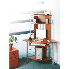 bureau ordinateur d angle informatique d angle avec tablette coulissante couleur noix