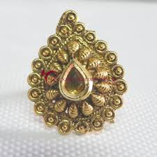 golden stone rings images Antique golden stone paan shape ring jpg