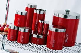 coffee kitchen canisters red enamel bread tea coffee sugar biscuit canister etc kitchen
