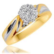 3 8 carat t w trio matching wedding ring set 10k yellow gold