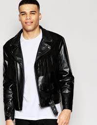 mens black leather motorcycle jacket asos men 2016 fringe jackets
