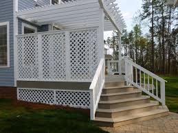 patio u0026 outdoor seaside gray veranda decking with white lattice