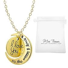 necklace pendant charm images Gold silver i love you to the moon back necklace pendant charm jpg
