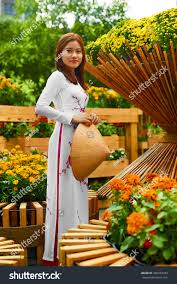 traditional clothing vietnam asia beautiful happy stock photo