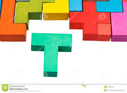 t shaped block and wooden puzzle stock images image 37887264