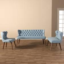 3 piece sofa set baxton studio scarlett mid century modern walnut brown wood and