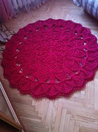 Red Round Rugs by Large Round Crochet Carpet Crimson Rug Living Room Rug Floor Mat