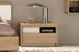 rectangle unpolished oak wood nightstand combined with chrome