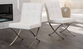 White Leather Dining Chairs Modern White Leather Dining Chairs Groupon Goods