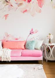 awesome simple bedroom with white bed and sofa also pink wooden