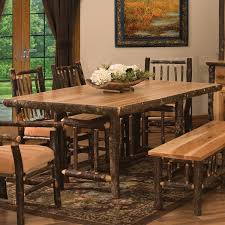 hickory dining room chairs hickory rectangular log dining table