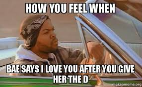 I Love You Bae Meme - how you feel when bae says i love you after you give her the d