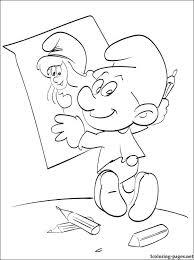 smurfs paints portrait smurfette coloring pages