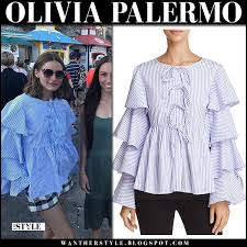 summer style capri olivia palermo in blue striped ruffled top and check shorts in capri