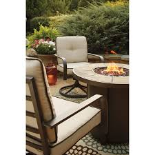 Fire Pit And Chair Set 3 Piece Round Fire Pit Table Set W Swivel Lounge Chairs By