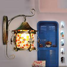 Mediterranean Wall Sconces Hanging Veranda Porch Stained Glass Wall Sconces