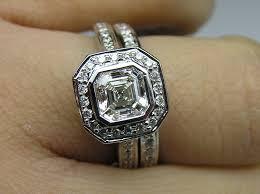 asscher cut diamond engagement rings engagement ring asscher cut diamond bezel cathedral halo