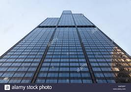 looking up from bottom of willis tower formerly sears tower stock