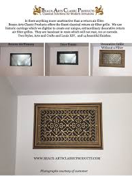 Decorative Wall Return Air Grille Return Air Filter Grille 14x24 Arts And Crafts Style Beaux
