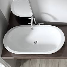 bathroom ceramic counter top wash basin sink wide oval round ends