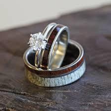 Wood Wedding Rings by Deer Antler Wedding Ring Set Diamond And Wood Bridal Set Deer
