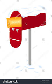 Mailbox Flag Red Mailbox Letter Covered Snow Stock Vector 89998381 Shutterstock