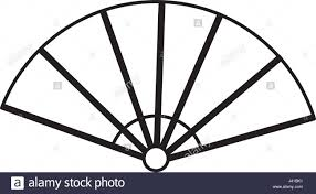 japanese fan folding ornament traditional outline stock vector