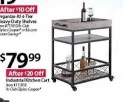 industrial kitchen cart 79 99 at bjs wholesale club on black friday