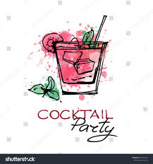 vector banners hand drawn cocktails cocktails stock vector