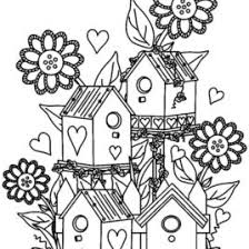 coloring pages bird houses kids drawing and coloring pages