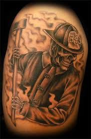 related pictures firefighter skull tattoo shoulder and arm shared