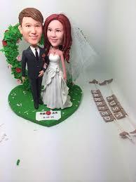 rustic unique personalized wedding cake topper bobble clay