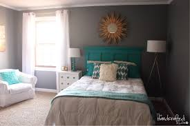 teal white and grey guest bedroom reveal love the homemade