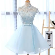 high neckline light blue cute homecoming prom dresses affordable