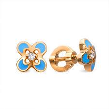 gold stud buy baby stud earrings blue leaf clover kids jewelry boutique