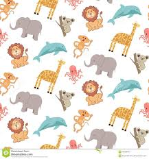 octopus wrapping paper seamless pattern with animals elephant giraffe lion