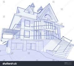 3d blueprint house vector technical draw stock vector 17455729