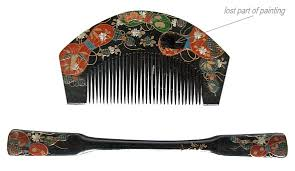 japanese antique hair accessories wooden comb and pull apart hair