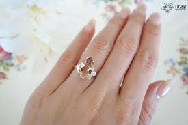 5 carat engagement ring sale 5 carat pear cut made morganite and diamond
