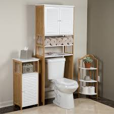 brown wooden over toilet cabinet with white doors and shelves over