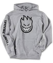 spitfire boys bighead full sleeve grey hoodie zumiez