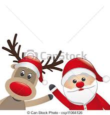 santa and reindeer reindeer and santa claus wave white background clip search