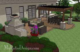 My Patio Design Rectangle Patio Design With Circle Pit Area Mypatiodesign