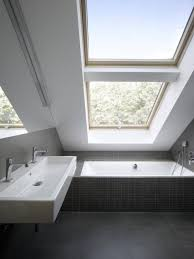 Skylight Design Awesome Small Attic Bathroom Design With Sloped Roof And Double
