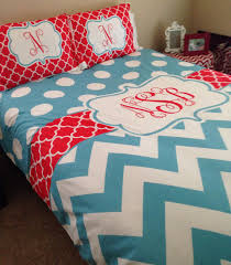 Polka Dot Chevron  Clover Bedding Turquoise And Red - Chevron bedroom ideas