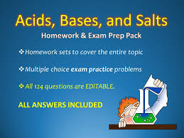 acids bases and salts homework worksheet and sample test