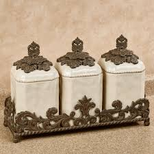 provincial triple kitchen canister set in holder