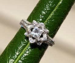 unique princess cut engagement rings gorgeous unique flower princess cut engagement ring
